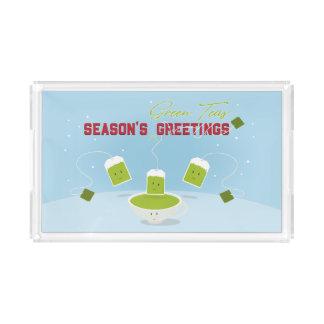 Behälter der Jahreszeit der grünen Tee-  Acryl Tablett