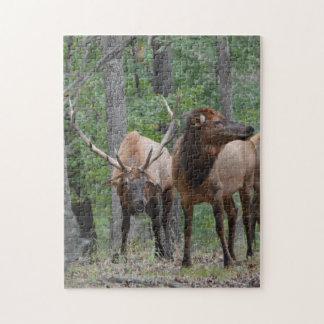 Beherrschen Sie Stier-Elche beim Furche-Lächeln Puzzle