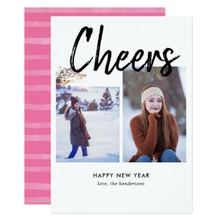 Beifall-handgeschriebenes Bürsten-Foto-neues Jahr Karte
