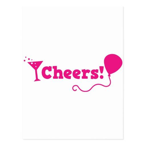 Beifall! mit Party Ballon und Cocktailglas Postkarte