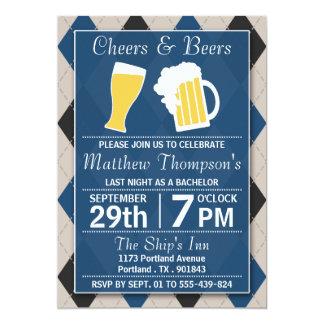 Beifall u. Bier-Trendy blaues Junggeselle-Party 12,7 X 17,8 Cm Einladungskarte