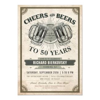 Beifall-u. Bier-Vintage Geburtstags-Party 12,7 X 17,8 Cm Einladungskarte