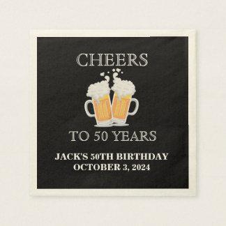 Beifall überrascht 50. Geburtstag Ecru Papierservietten