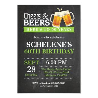 Beifall-und Bier-60. Geburtstags-Einladungs-Karte 12,7 X 17,8 Cm Einladungskarte