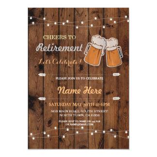 Beifall zu den Ruhestands-Party-hölzernen Bieren 12,7 X 17,8 Cm Einladungskarte