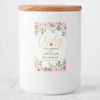 Beifall zum Hochzeits-eleganten Aquarell mit Lebensmitteletikett