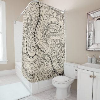 beig aztec geometric pattern duschvorhang
