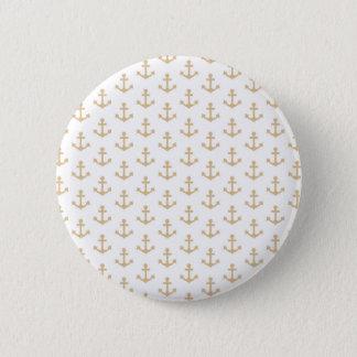 Beige Anker-Muster-Seeseemann Runder Button 5,7 Cm