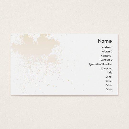 Beige auf weißem Spritzer - Geschäft Visitenkarte