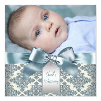 Beige blaue Damast-Baby-Jungen-Foto-Taufe Ankündigungskarten