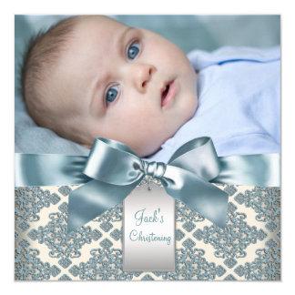 Beige blaue Damast-Baby-Jungen-Foto-Taufe Quadratische 13,3 Cm Einladungskarte