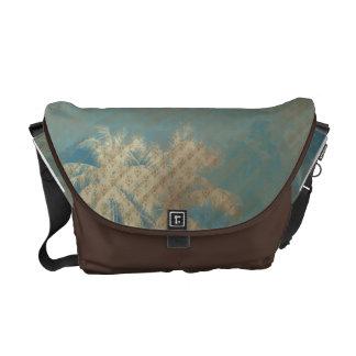 beige blaue palmtree Braunmuster Bote-Tasche Kurier Taschen