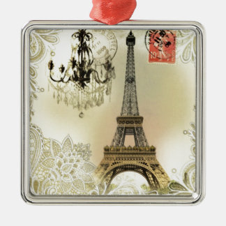 beige Blumenspitzeleuchter-Paris-Eiffelturm Silbernes Ornament
