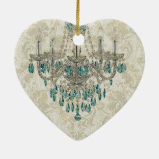 beige Damast-französisches Land-Vintager Leuchter Keramik Herz-Ornament
