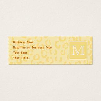 Beige gelber Leopard-Druck. Kundenspezifisches Mini Visitenkarte