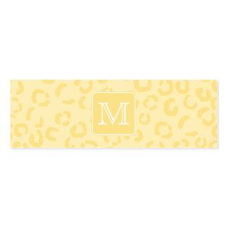 Beige gelber Leopard-Druck. Kundenspezifisches Mini-Visitenkarten