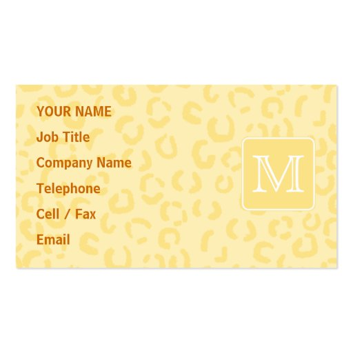 Beige gelber Leopard-Druck. Kundenspezifisches Visitenkartenvorlage