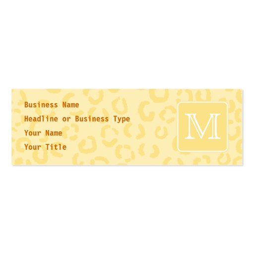Beige gelber Leopard-Druck. Kundenspezifisches Visitenkarten