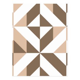 Beige geometrisches Würfel-Muster Browns Postkarte