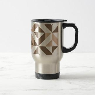 Beige geometrisches Würfel-Muster Browns Reisebecher