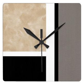 Beige graues Schwarzweiss-modernes Quadratische Wanduhr