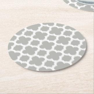 Beige graues Weiß Retro Ikat Quatrefoil Muster Runder Pappuntersetzer