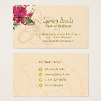 Beige hochrote BlumenVisitenkarte Visitenkarte