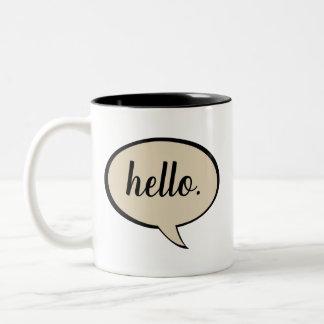Beige kundengerechte Sprache-Blase Zweifarbige Tasse
