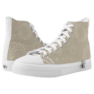 Beige kundenspezifische Turnschuhe Hoch-geschnittene Sneaker