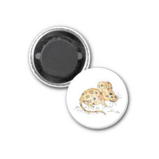 Beige Maus mit Flicken Runder Magnet 2,5 Cm