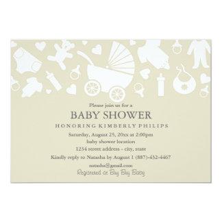 Beige moderne Babyparty-Einladung Karte