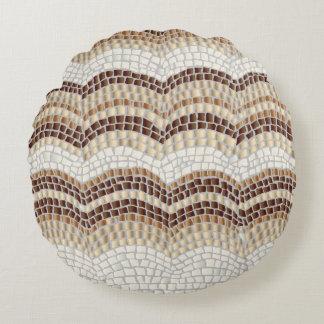 Beige Mosaik-Baumwollrundes Wurfs-Kissen Rundes Kissen