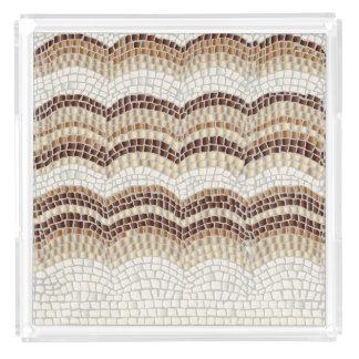 Beige Mosaik-Extra-Großes quadratisches Acryl Tablett