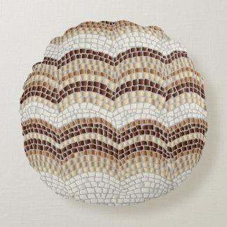 Beige Mosaik gebürstetes Polyester-rundes Rundes Kissen