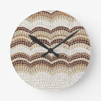 Beige Mosaik-mittlere runde Wanduhr