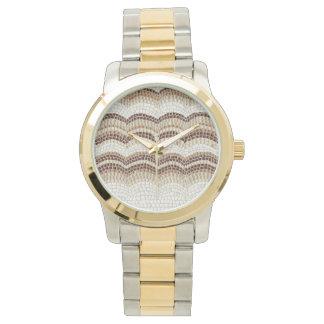 Beige Mosaik übergroßes Zwei-Ton Armband Armbanduhr