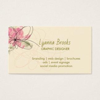 Beige Obstgarten-Rosa-BlumenVisitenkarte Visitenkarte