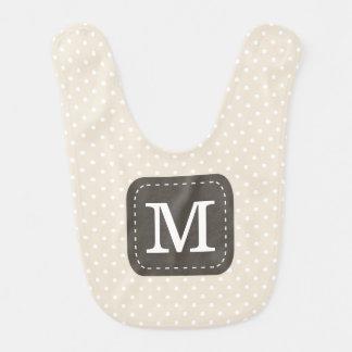 Beige Polka-Punkt-Muster mit personalisiertem Babylätzchen