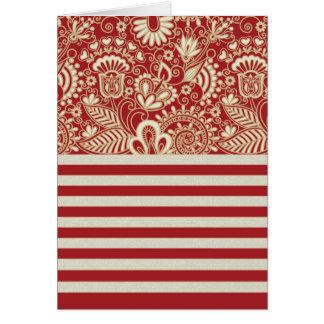 beige rote Terrakotta stripes Blumenmuster Grußkarte