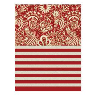 beige rote Terrakotta stripes Blumenmuster Postkarte