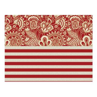 beige rote Terrakotta stripes Blumenmuster Postkarten