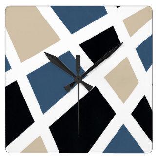 Beige Schiefer-Schwarz-weißes geometrisches Quadratische Wanduhr