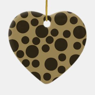 Beige TAN modernes Punkt-Muster Browns Keramik Ornament