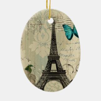 beige Turm Damastschmetterlings-Rose Paris Eiffel Keramik Ornament