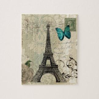 beige Turm Damastschmetterlings-Rose Paris Eiffel Puzzle