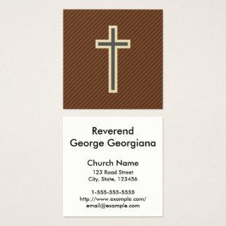 Beige u. graues christliches Kreuz auf Quadratische Visitenkarte