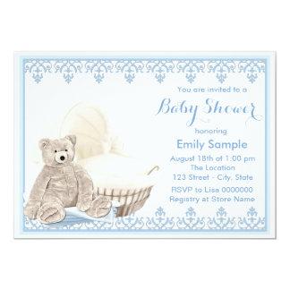 Beige und blaue Teddybär-Babyparty 12,7 X 17,8 Cm Einladungskarte
