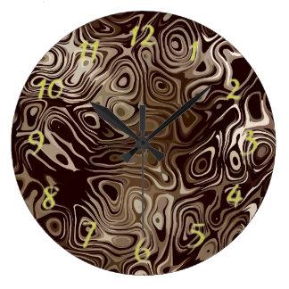 Beige und Brown-Strudel-Muster Große Wanduhr