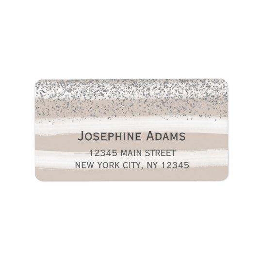 Beige und silberne Adressen-Etiketten Adressetikett