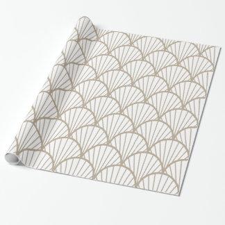 Beige-und Weiß-Kamm-Muschel-Muster Geschenkpapier